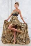 长的礼服的美丽的bonde妇女。 免版税库存照片