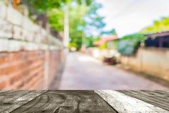 长的空的走廊的模糊的照片有露天场所的对绿色g 免版税库存照片