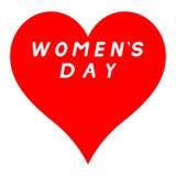更长的红色心脏为与白色积土署名的妇女的天 免版税库存照片