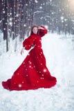 长的红色礼服的年轻美丽的妇女在冬天背景 图库摄影