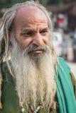 长的胡子的无家可归的人 免版税库存照片