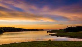 长的胳膊水库看法在日落的,在汉诺威附近,宾夕法尼亚 库存照片
