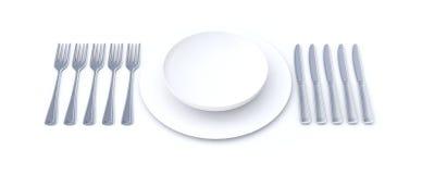 长的膳食餐位餐具 图库摄影