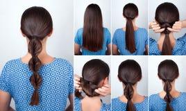 长的头发的简单的发型讲解 图库摄影