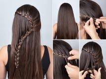 长的头发讲解的发型辫子 免版税库存图片