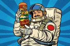 长着大髭须的宇航员用巨型汉堡 皇族释放例证