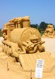 长耳兔电影沙子雕塑 免版税图库摄影