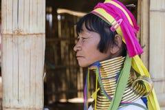 长脖子妇女,缅甸 免版税库存图片