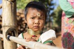长脖子孩子,缅甸 库存照片