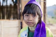 长脖子孩子,缅甸 免版税库存照片