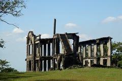 长英里营房的废墟科雷希多岛的,马尼拉湾,菲律宾 库存图片