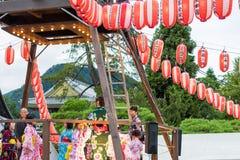 长野,日本- August 15日2017年:庆祝好的妙语O的人们 免版税库存照片