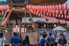 长野,日本- August 15日2017年:庆祝好的妙语O的人们 免版税库存图片
