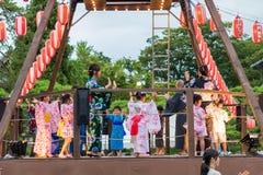 长野,日本- August 15日2017年:庆祝好的妙语O的人们 图库摄影