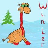长颈鹿为什么在冬天是很冷的? 库存照片