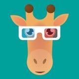 长颈鹿具体化佩带的玻璃 库存图片