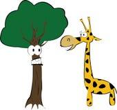 长颈鹿和乐趣结构树 库存照片