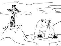 长颈鹿和北极熊 免版税库存照片