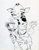 长颈鹿和咖啡 库存照片
