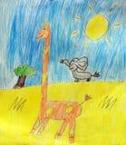 长颈鹿和大象 免版税库存图片