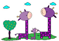 长颈鹿家庭 免版税库存图片