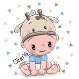 长颈鹿帽子的逗人喜爱的动画片男婴 免版税图库摄影