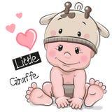 长颈鹿帽子的逗人喜爱的动画片男婴 免版税库存图片