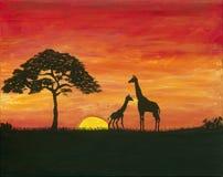 长颈鹿徒步旅行队绘画 库存图片