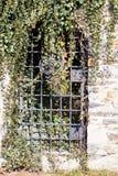 长满与常春藤禁止17世纪的伊赫拉瓦河垒入口  免版税图库摄影