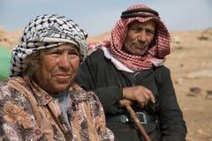 年长巴勒斯坦夫妇在约旦河西岸约旦谷村庄 图库摄影