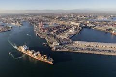 长滩货物Facilites鸟瞰图口岸  库存图片