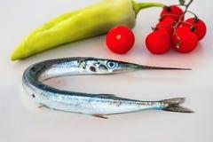 长嘴硬鳞鱼,蕃茄,胡椒 库存照片