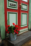 门、邮箱和一个桶花 库存图片