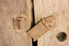 门关闭和打开并且穿上` t锁门 免版税库存照片