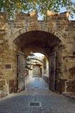 门向耶路撒冷旧城 Lindos 希腊 免版税图库摄影