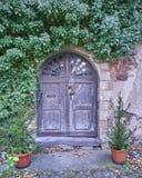门和常春藤植物在阿尔腾堡,德国 免版税库存图片