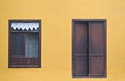 门和窗口在黄色墙壁上 免版税库存照片