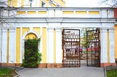 门和长满的老门 免版税库存图片