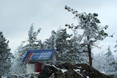 门在一间佛教徒修道院里在冬天风景的背景中 免版税库存照片