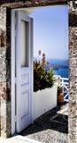 门希腊海岛santorini 免版税图库摄影