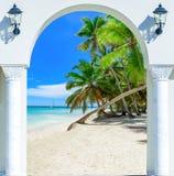 门开放棕榈滩加勒比海多米尼加共和国 图库摄影