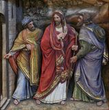 门徒遇到路的耶稣给埃莫 免版税库存图片