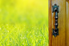 门户开放主义在绿草领域自然背景 库存图片