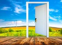 门户开放主义有明媚的阳光阐明的绿色草甸看法 图库摄影