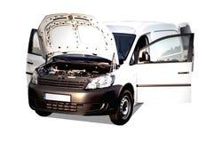 门户开放主义的白色卡车 免版税图库摄影