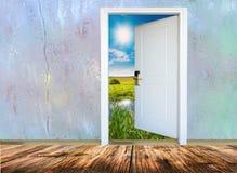 门户开放主义以有启发性的绿色草甸为目的 免版税库存照片