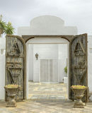 门户开放主义- Playa布朗卡兰萨罗特岛 库存图片
