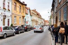 门户Schei街斯特拉达Poarta Schei在布拉索夫市在罗马尼亚 库存图片