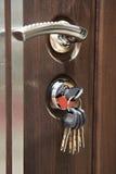 门把手和钥匙在匙孔 免版税库存照片