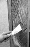 门洗刷的工作者 免版税库存图片